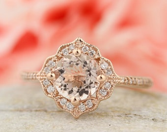 AAA Morganite Engagement Ring Diamond Wedding Ring Vintage Floral Ring In 14k Rose Gold Gem1224