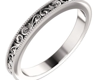 Enterity Sculptural-Style Pattern Wedding Band in 14k White Gold ST62692
