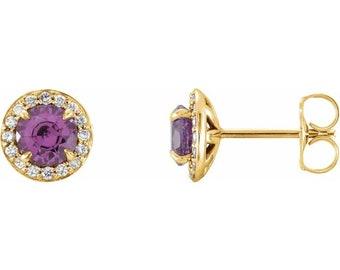 Genuine Ametrhyst & Diamond Halo Earrings In 14K White/Yellow/Rose Gold