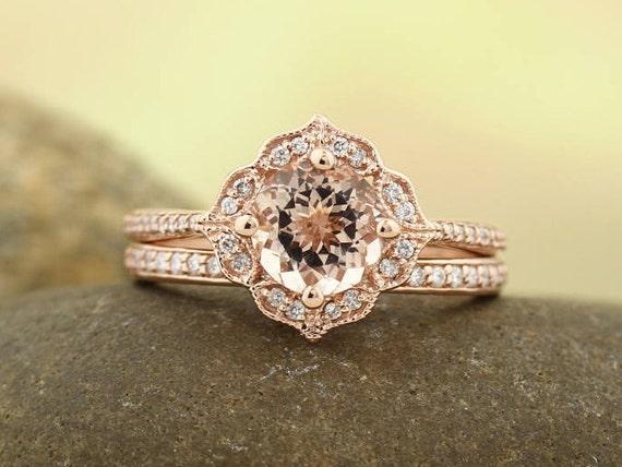 Aaa Morganite Engagement Ring Set Diamond Wedding Ring Set Etsy