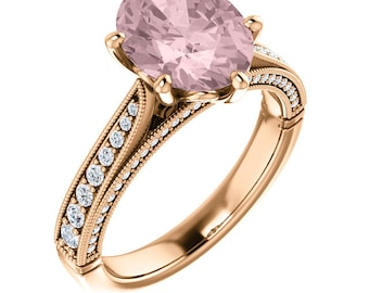 Natural AAA 10x8mm Oval  Morganite  Solid 14K Rose  Gold Diamond Engagement Ring Set ST233585