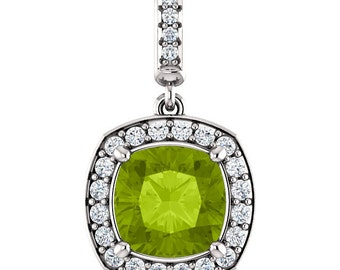 """Natural  8mm Cushion  Green Peridot Solid 14K White Gold Diamond pendant with 18"""" Cable chain- ST97183"""