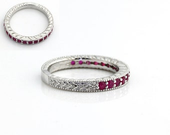Natural Ruby  Antique wedding Band  Ring in 14k White Gold-Gem826 - Special Sale