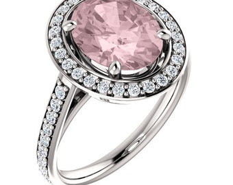 Natural AAA 10x8mm Oval  Morganite  Solid 14K white Gold Diamond Engagement Ring Set-ST82753