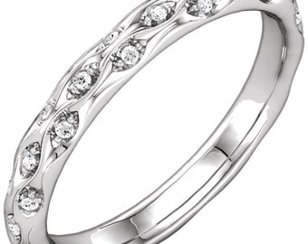 14kt White Sculptural Eternity Band ,Wedding Band ,Aniversary Ring  ST232073