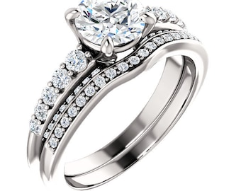 1ct Forever One (GHI) Moissanite Solid 14K White Gold Vintage Style Engagement Ring Set -ST233320 (Other metals and stone options available)