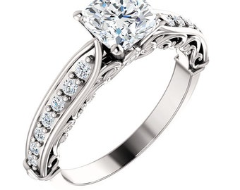 1.1ct Forever One (GHI) Moissanite Solid 14K White Gold Diamond Engagement Ring, cushion cut- ST233176C