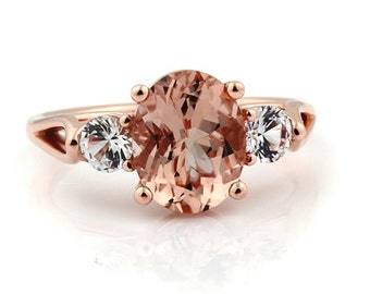 Natural AAA 10x8mm Oval  Morganite  Solid 14K Rose  Gold 3 Stone White Sapphire Engagement Ring -Gem961