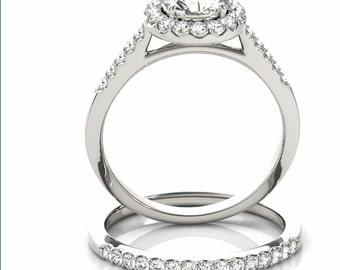 1ct  6.5mm  Forever Brilliant Moissanite Solid 14K White Gold  Halo  Engagement  Ring Set  - OV61456
