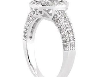 1/2ct 5mm Round Forever One (GHI) Moissanite Halo Diamond Engagement Ring ENR0113