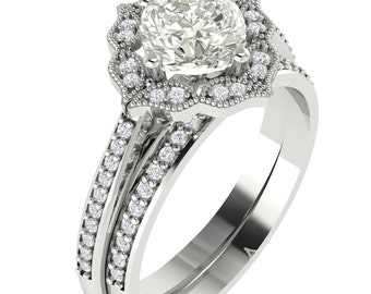 Certified Foever One Moissanite Engagement Ring Set Diamond Wedding Set Vintage Floral Ring Set In 14k White Gold ,Rose Gold,Yellow Gold
