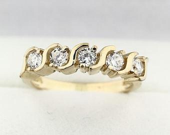 Natural Diamond Wedding Band Ring 14k Yellow Gold