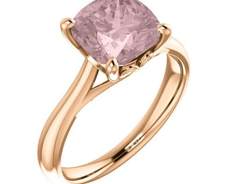 Natural AAA 8mm Antique Cushion Cut Morganite  Solid 14K Rose Gold Solitaire Engagement  Ring Set-@@@Special for you@@@ ST233566