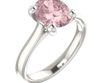 Natural AAA 10x8mm Oval  Morganite  Solid 14K white Gold  SolitaireEngagement  Ring Set- ST233211  @@@Special for you@@@