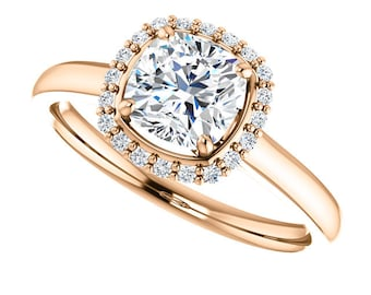 1 ct Forever One (GHI) Moissanite Solid 14K Rose Gold Diamond Engagement Ring cushion cut - ST233171R