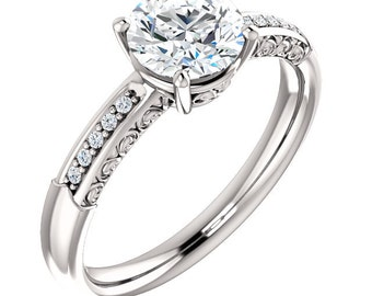 Ready To ship-- Forever One (GHI) Moissanite Solid 14k white gold Antique Floral Style diamond Engagement Ring -Size 7