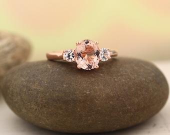 Morganite white sapphire  Solid 14K Rose Gold  engagement Ring Gem1389