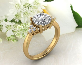 Solid 14K Gold Round 8mm Round 2.00 CT Moissanite (DEF) Engagement Ring ,Diamond Ring ,Moissanite wedding ring  Gift For Her