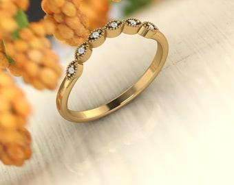 Curved Art Deco Antique Style Diamond /Moissanite  Milgrain 14K White/Yellow/Rose Gold half Eternity Wedding Band Ring Anniversary Ring