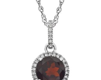 """14k White Gold Diamond Garnet Or Citrine  Halo style Pendant Necklace, 18"""" ( Other Center Available)"""