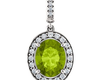 """Natural  10x8mm Oval  Green Peridot Solid 14K White Gold Diamond pendant with 18"""" Cable chain- ST97183"""