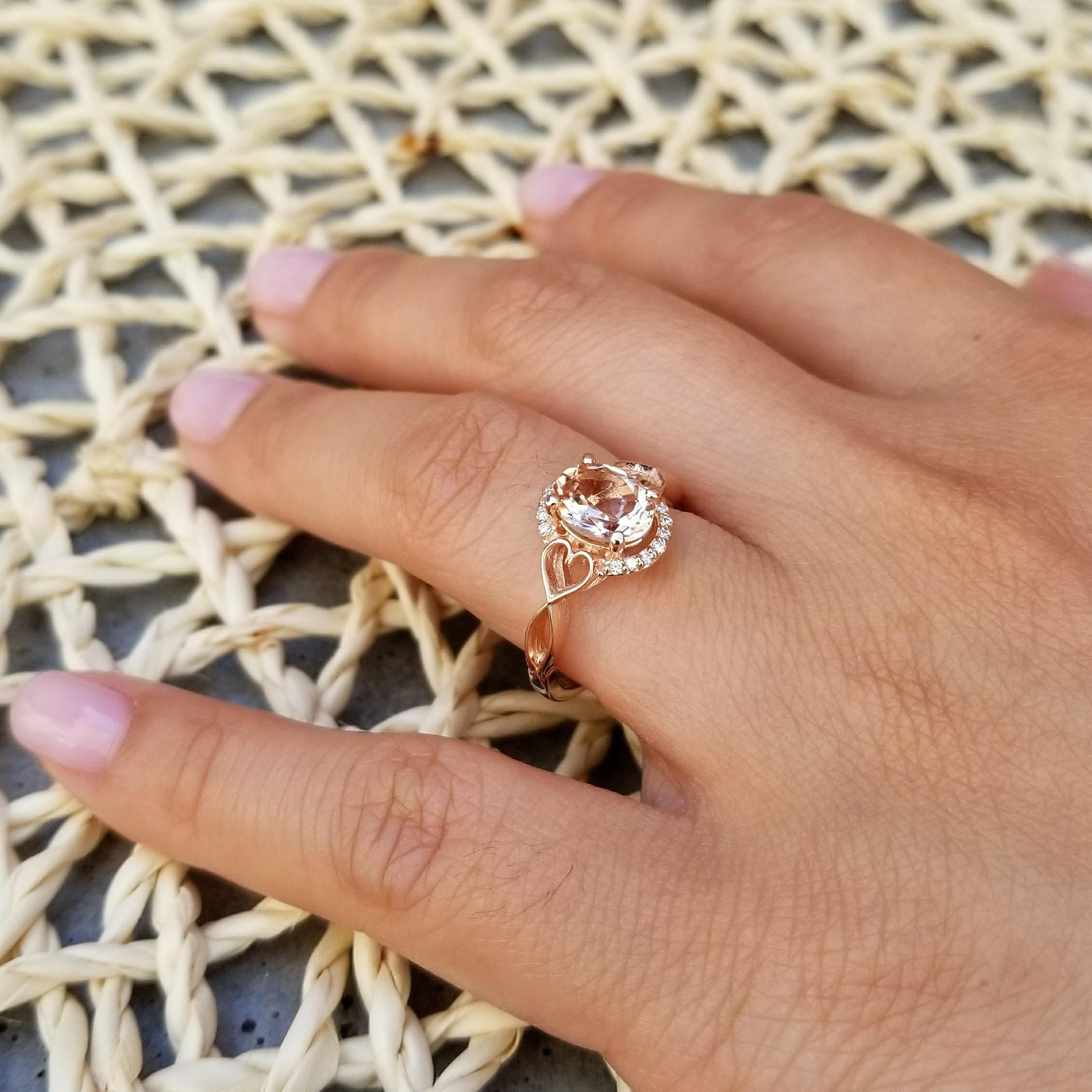 667c1c7136ca1 Morganite Engagement Ring Diamond Halo Ring In 14k White / Rose ...
