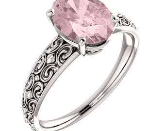 Stunning Natural 10x8mm Oval Morganite  Solid 14K White Gold Engraved Solitaire engagement Ring-antique style ST82729