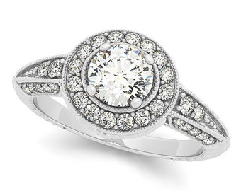 1/2 ct 5mm Forever One (GHI) Moissanite  Solid 14k white gold Antique Style diamond Engagement Ring- Ov94378