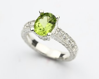 Natural Green Peridot Solid 14K White Gold antique style  Diamond Ring