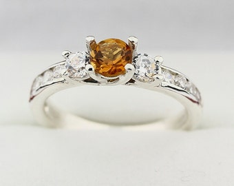 Natural 5mm Yellow Citrine Solid 14K White Gold Diamond Ring