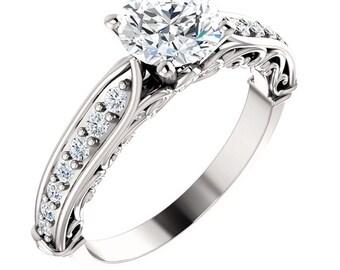1 ct Forever One (GHI) Moissanite Solid 14K White Gold Diamond Engagement Ring - ST233176R