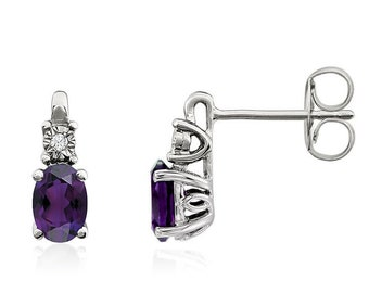 14K White Natural Amethyst  &  Diamond Accented Earrings