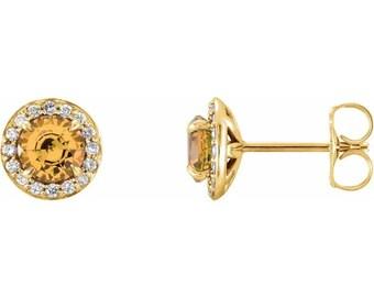 Genuine Citrine & Diamond Halo Earrings In 14K White/Yellow/Rose Gold