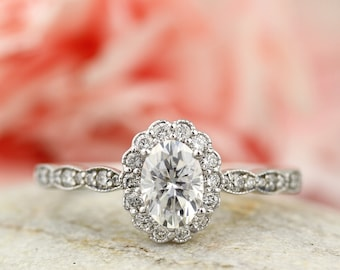 7x5mm Oval Forever One (GHI) Moissanite  Solid 14k white gold Antique Style diamond Engagement Ring- st82806