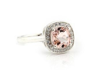 7mm Antique Cushion cut  1.55 ct  Natural  Morganite Solid 14K White Gold Diamond Engagement Ring - Gem911