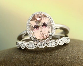 Bridal Set Floral Design AAA Morganite Wedding Set 14K White Gold Ring Set With Artdeco Band(Other metals & stone options available) Gem1121