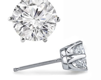 Pair 14K White Or Yellow Gold   4 - 6.5mmmm Round Forever One Moissanite (GHI) 6-Prong Crown Design   Earrings -ST35075, 2023