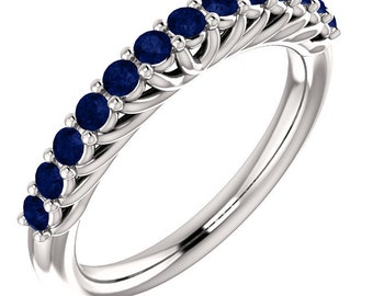 Stackable Half Eternity Blue Sapphire Wedding Band Ring   In 14k White  ,Rose or Yellow Gold ST233725*****On Promotion*****