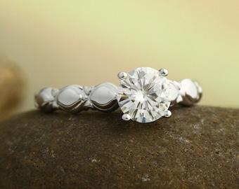1ct  6.5mm Forever One (GHI) Moissanite Solid 14K White Gold  Sculptural Engagement Ring Set - ST232001