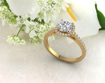 Solid 14K Gold Round Moissanite 1.30 CT (DEF) Engagement Ring ,Diamond Ring ,Moissanite wedding ring  Gift For Her