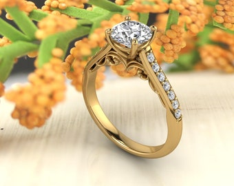 Solid 14K Gold 1.25 CT Round Moissanite (DEF) Fancy Style Scroll Engagement Ring ,Diamond Ring ,Moissanite wedding ring  Gift For Her