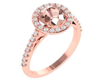 AAA Morganite Engagement Ring Set  Diamond Wedding Ring Set Vintage Floral style In 14k Rose Gold Round 7mm  Gem1224
