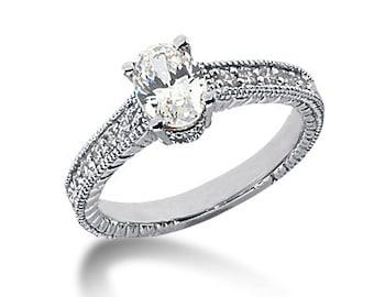 3/4ct  7x5mm Oval Forever One (GHI) Moissanite Diamond Vintage Engagement Ring ENR764