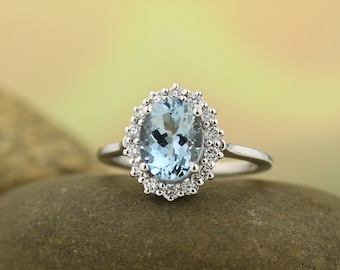 Natural AAA 9x7mm  Aquamarine  14K White 9x7mm Oval Halo-Styled Ring -Gem1246