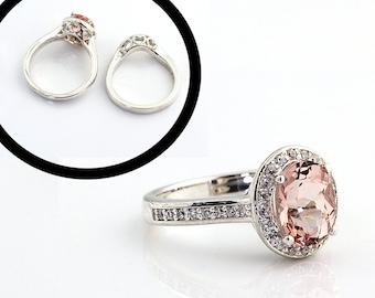 Natural Morganite  14K White Gold  Diamond Engagement Halo Ring Set - Gem814