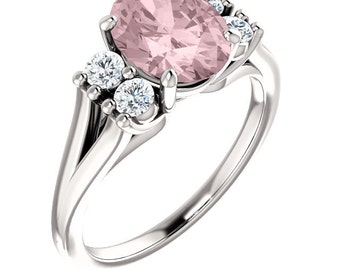 Natural AAA 9x7 mm Oval  Morganite  Solid 14K White Gold Diamond Engagement Ring Set-ST82716