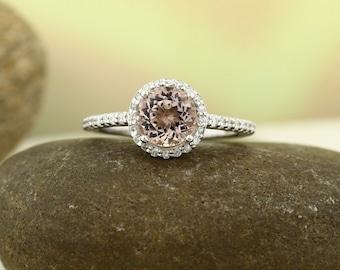 14K Morganite Ring Diamond Halo Morganite Engagement Ring, white gold, 7mm gemstone - Gem830