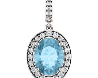 """Natural  10x8mm Oval  Aquamarine Solid 14K White Gold Diamond pendant with 18"""" Cable chain- ST97183"""