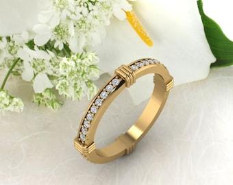 Diamond /Moissanite Full  Eternity 14K White/Yellow/Rose Gold Eternity Wedding Band Ring Anniversary Ring