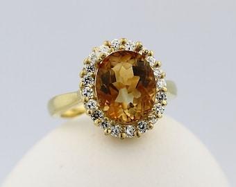 Natural Yellow Citrine Solid 14K Yellow Gold Diamond Ring